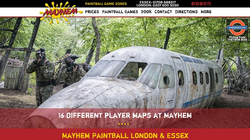 Mayhem Paintball website designed by EQ Creative