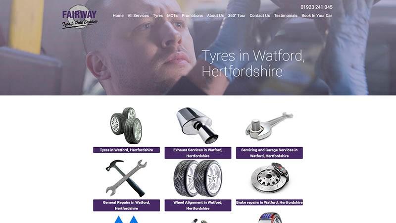 Fairway Tyres Watford website designed by EQ Creative